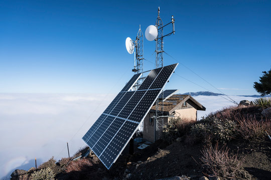 Solar communication towers on top of Josephine Peak in the San Gabriel Mountains and Angeles National Forest near Los Angeles, California.