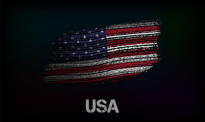 Flag of the USA. Vector illustration in grunge style with cracks and abrasions. Good image for print