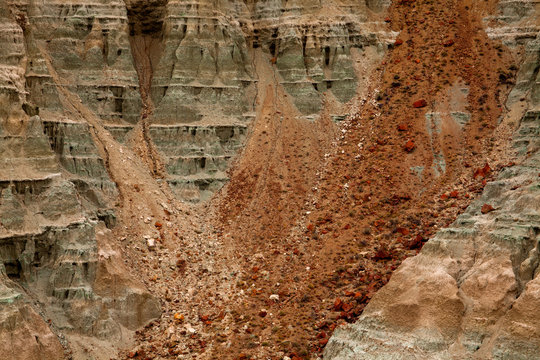 Closeup of sediment at Blue Basin in the Sheep Rock Unit of John Day Fossil Beds in Oregon