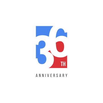 36 Th Anniversary Celebration Logo Vector Template Design Illustration