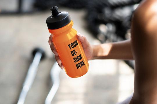Sports bottle label mockup