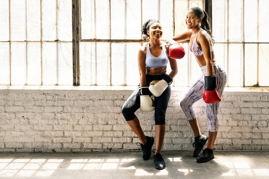 Strong and fit feamle boxers
