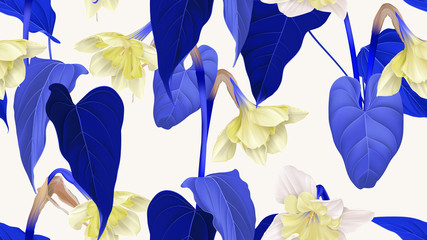 Floral seamless pattern, daffodil flowers with leaves in blue and yellow on light grey