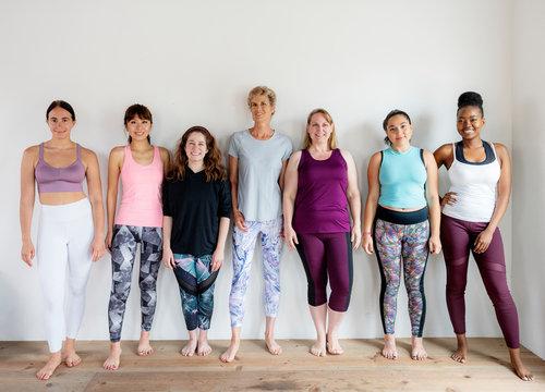 Diverse yoga girls