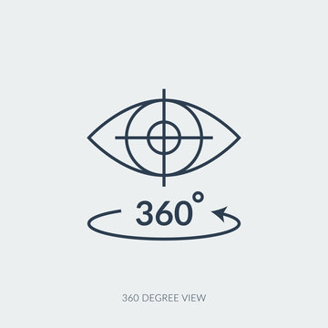 Vector outline icon of virtual reality technology - 360 degree view