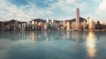 Fotomurales - Hong Kong skyline  from kowloon side, Victoria harbour - Time lapse