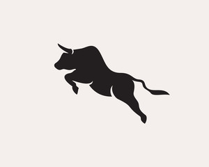 Jump up high bull logo design inspiration