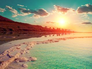 Fototapete - Beautiful sunrise over the Dead Sea. Nature landscape