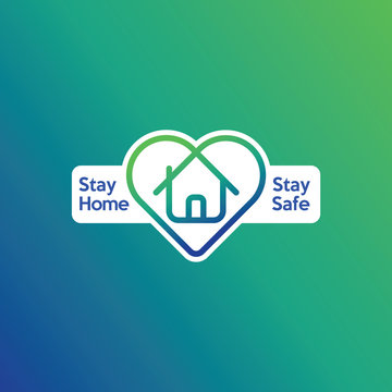 Stay home and stay safe logo. To prevent covid-19 coronavirus. Guideline to be safe from disease. A house in a herath symbol.
