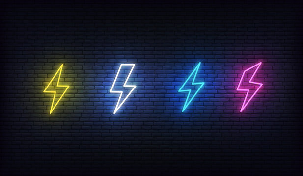 Lightning bolt neon. Energy neon set. Sign of lightning, thunder and electricity.