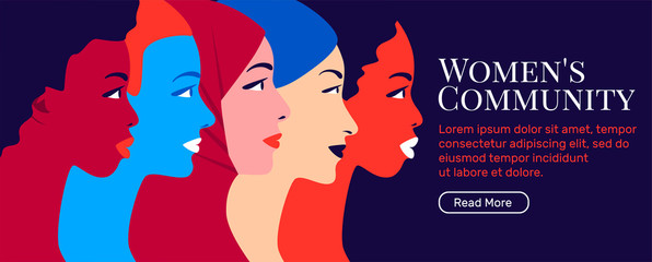 Multinational sisterhood community. Multiethnic group of young women in profile. Concept for global social campaign. Bright vector illustration in flat style. Equality and womens rights.