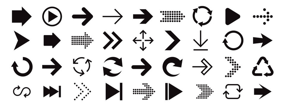 Arrow sign icon set. Collection of arrows for web design, mobile apps, interface.