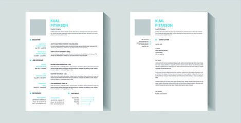 Minimal professional resume template design and cover letter - vector template
