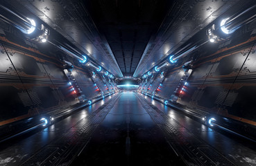 Fototapete - Blue and red futuristic spaceship interior with window view on planet Earth 3d rendering