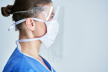 Portrait of female medical doctor wearing protective mask and face shield