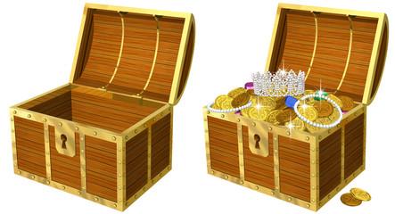 開けたら金貨の溢れる宝箱のリアルイラスト