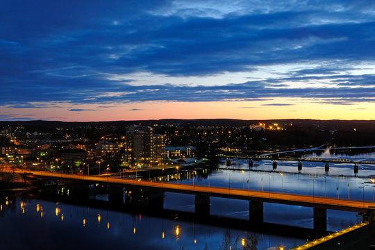Umea river and bridges at sunset, Umea, Vasterbotten, Sweden