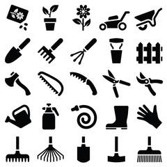 Garden tool icon collection - vector silhouette illustration