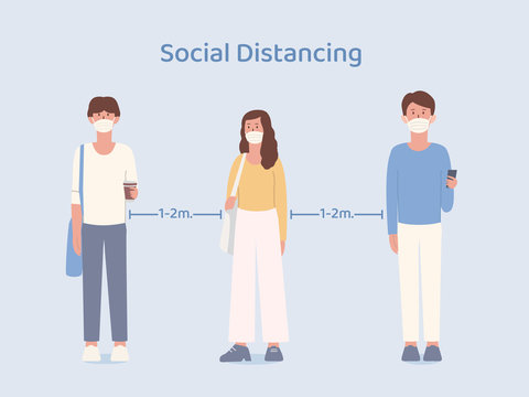 Man and Women who wearing a mask taking social distancing while standing in queue. Illustration about way to prevent Coronavirus spread in public place.