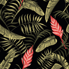 Wall Mural - Floral seamless pattern tropical flowers hawaiian black background