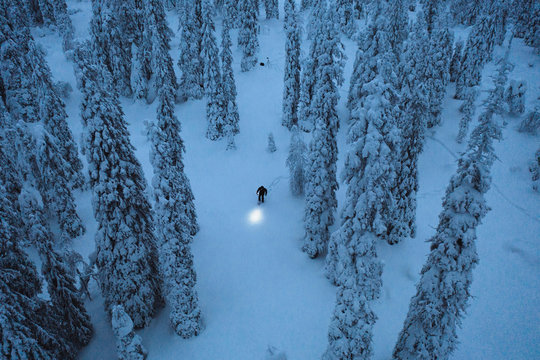 jdsBlue hour at Riisitunturi National Park, Finland drone shot