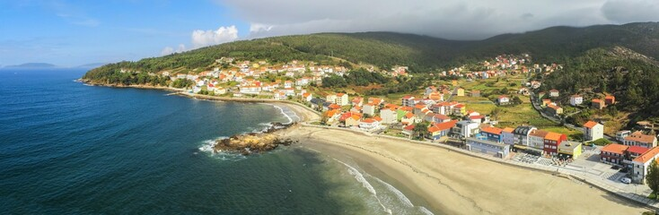 Poster Khaki Aerial view in Ezaro, village with beach in Galicia,Spain. Drone Photo