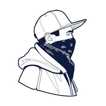 Man in Cap and Bandana Vector Art