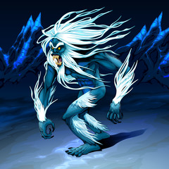 Yeti is walking in the night
