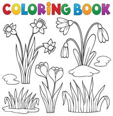Spoed Fotobehang Voor kinderen Coloring book early spring flowers set 1