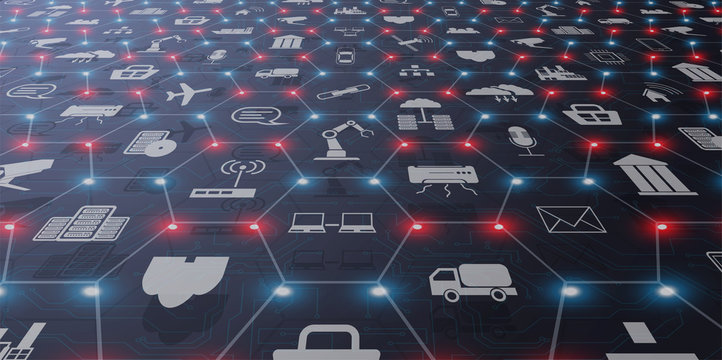 Concept of Industry 4.0. Automation, the flow of the icons, data exchange technology in production. Internet of things (IoT) networking concept for connected devices. Spider web of network connections