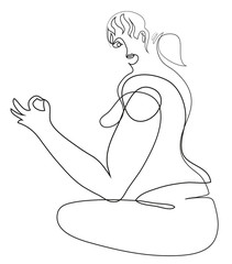 One continuous line drawing of Woman doing yoga exercise. Close-up woman s hand doing yoga exercise.