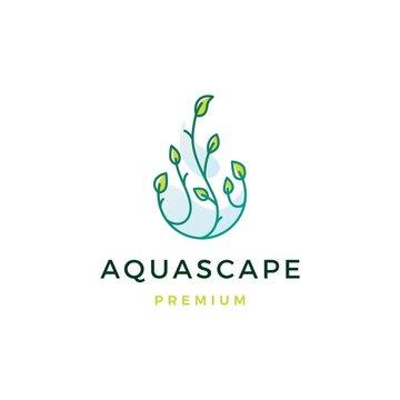 aquascape leaf tree water drop logo vector icon illustration