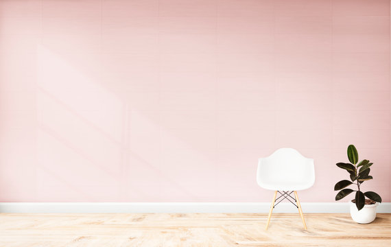 Living room with a pink wall