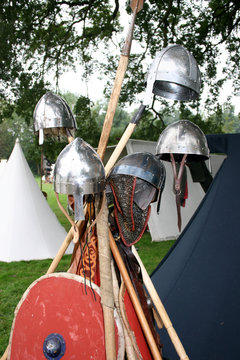 Norman helmets and shields at the reenactment of The Battle of Hastings in England.