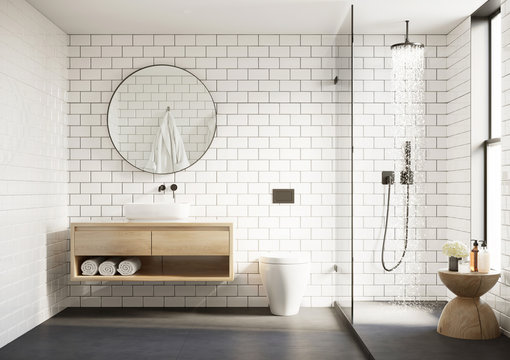 3d modern Scandinavian bathroom with white tiles round mirror and shower