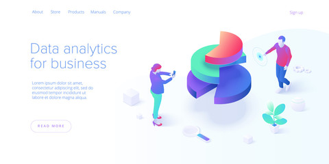 Business strategy isometric vector illustration. Data analytics for company marketing solutions or financial performance. Budget accounting or statistics concept. Website banner layout template. Fototapete
