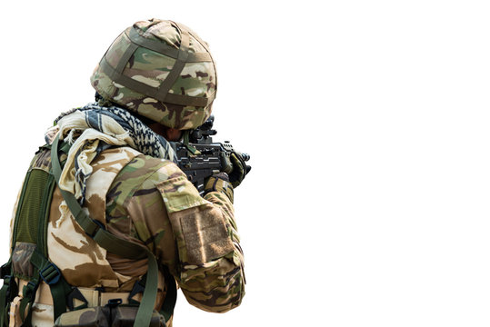 Special Forces soldier in combat uniforms aiming gun rifle to attack enemy, Concept war, army, weapon, technology protection country with isolated on white