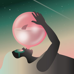Illustration of woman blowing bubblegum balloon