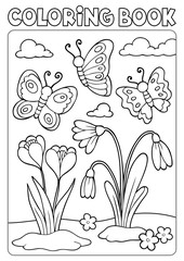 Coloring book spring flowers and butterflies