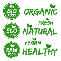Wall Mural - Bio Food Stickers. Set of green Stickers. Eps10.