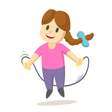 Cute smiling cartoon little girl jumping over a skipping rope. Cartoon flat vector illustration, isolated on white background.