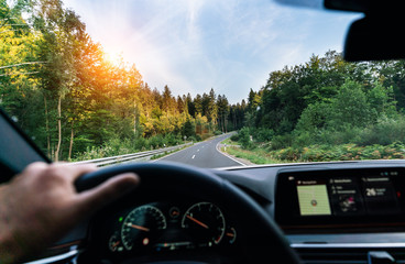 Wall Mural - Hands of car driver on steering wheel, fast driving car at spring day on a country road, having fun driving the empty highway on tour journey - POV, first person view shot
