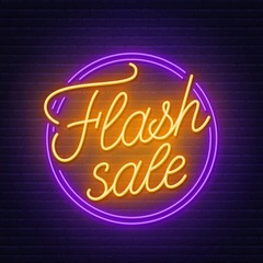 Fototapete - Flash sale neon sign on brick wall background .