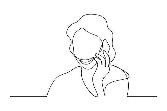 Woman talking on mobile phone in continuous line art drawing style. Minimalist black linear sketch isolated on white background. Vector illustration