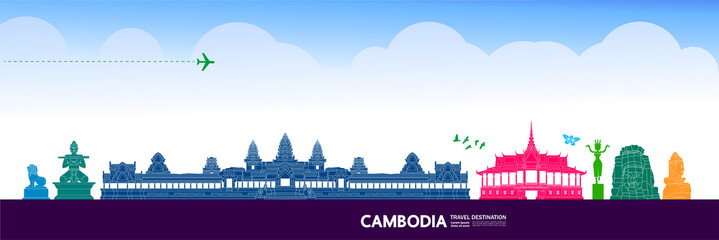 Fototapete - Cambodia travel destination grand vector illustration.