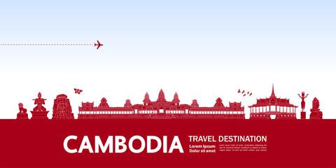 Wall Mural - Cambodia travel destination grand vector illustration.