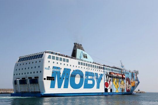 Bastia, Corsica, France - July 10, 2011: Moby ferry navigating between the island of Corsica and Italy