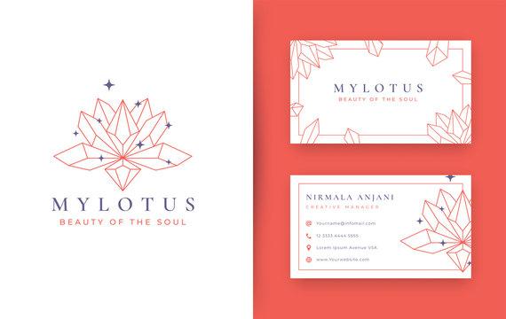 Abstract Lotus stone crystal logo design