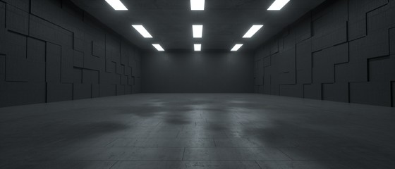 3d rendering of a futuristic dark concrete underground space with lights Fotobehang