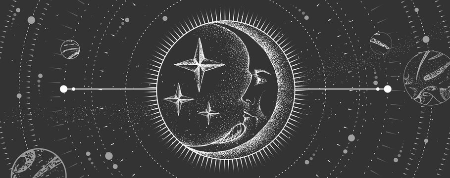 Modern magic witchcraft card with astrology moon sign with human face. Realistic hand drawing vector  illustration